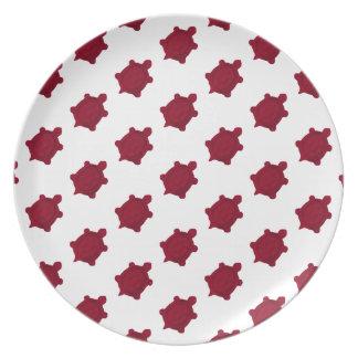 Dark Red Turtles Dinner Plates