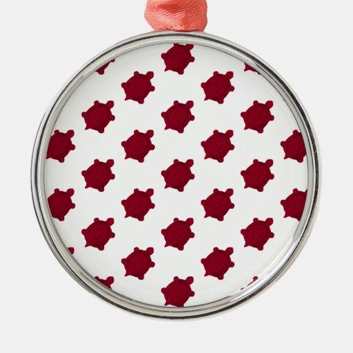 Dark Red Turtles Round Metal Christmas Ornament