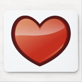 Dark Red Valentine's Day Heart with Black Border Mousepad