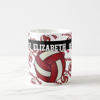 Dark Red Volleyball | Personalize Coffee Mug