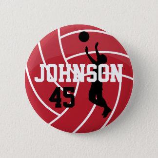 Dark Red Volleyball with Silhoutte Player Pinback Button