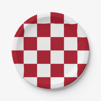 Dark Red/White Checkered 7 Inch Paper Plate