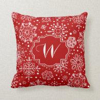 Dark red & white christmas snowflakes pattern throw pillow