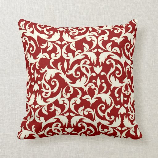 Dark Red & White Damask Fancy Square Throw Pillow Zazzle
