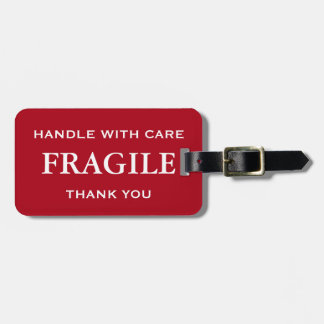 Dark Red White Fragile Handle with Care Thank You Bag Tag