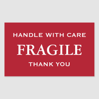 Dark Red/White Fragile Handle with Care Thank You Rectangular Sticker