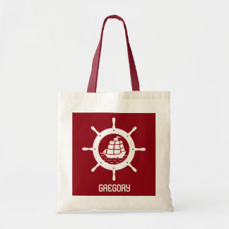 Dark Red & White Nautical Boat Wheel Tote Bag