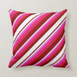 [ Thumbnail: Dark Red, White, Orchid, Deep Pink, and Crimson Throw Pillow ]