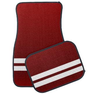 Dark Red White Racing Stripes Car Floor Mat