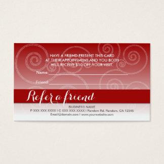 Dark red white swirl refer a friend cards