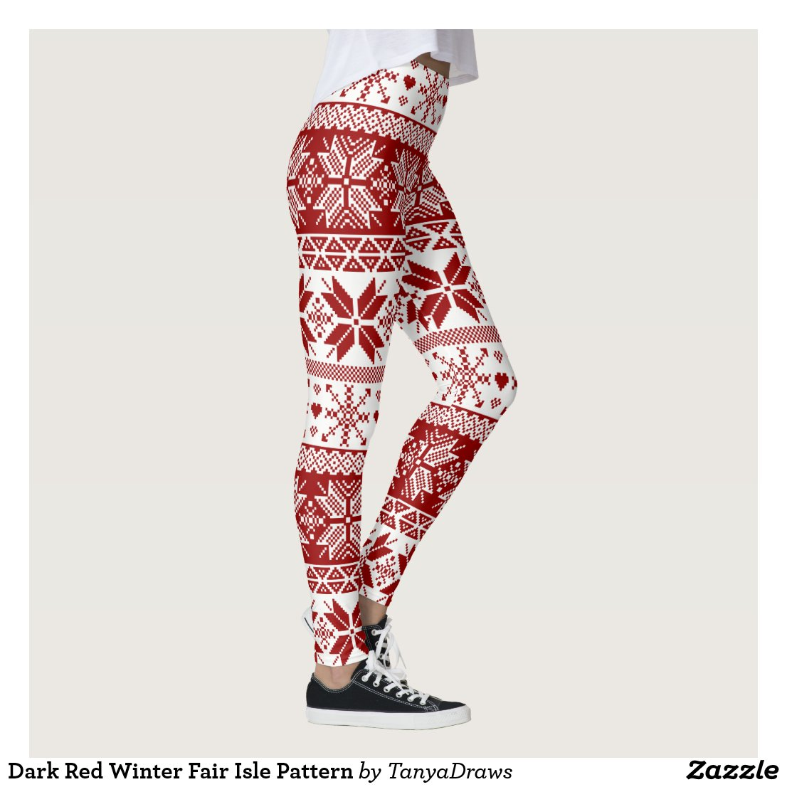 Dark Red Winter Fair Isle Pattern Leggings