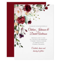 Dark Red Winter Floral Wedding Invitation