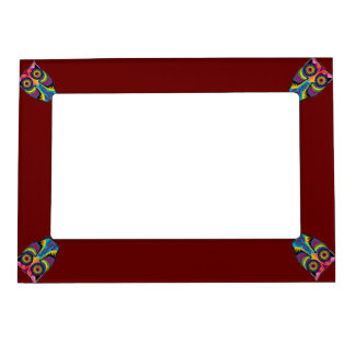 Dark Red with Colorful Owls in Corners Frame Magnets