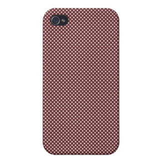 Dark Red With Simple White Dots iPhone 4 Covers