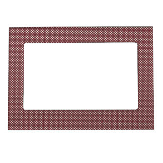 Dark Red With Simple White Dots Photo Frame Magnets
