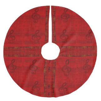 Dark Red with Treble Clef Notes Tree Skirt
