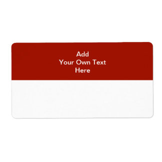 Dark Red with white area and text. Label