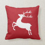 Dark Red with White Reindeer Silhouette Throw Pillows