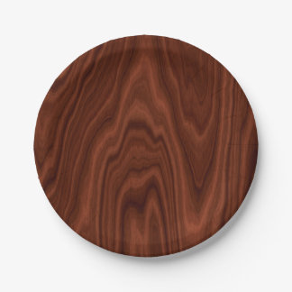 Dark Red Wood Texture Paper Plate