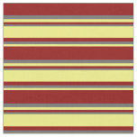 [ Thumbnail: Dark Red, Yellow & Dim Gray Colored Lines Fabric ]