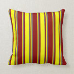 [ Thumbnail: Dark Red, Yellow & Dim Gray Colored Lines Pillow ]