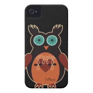 Dark Retro Cute Owl iPhone 4 Case