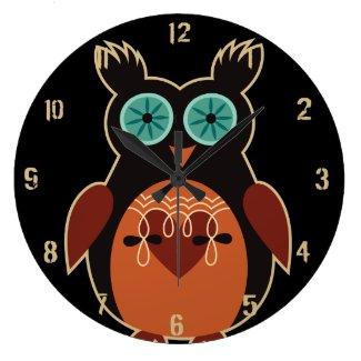 Dark Retro Cute Owl Wall Clock