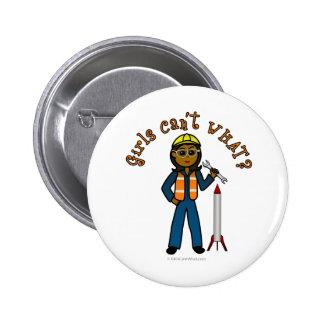 Dark Rocket Scientist Girl 2 Inch Round Button