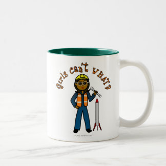 Dark Rocket Scientist Girl Two-Tone Coffee Mug