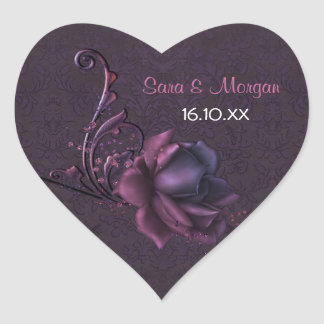 Dark Romance Rose Wedding Seal Heart Sticker