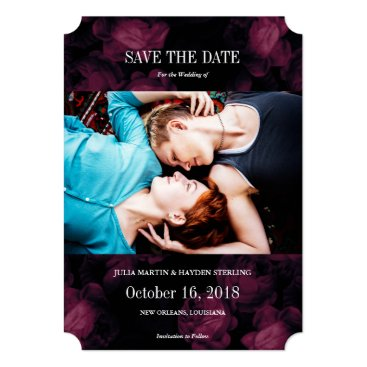 Halloween Themed Dark Rose Garden Photo Save the Date Cards