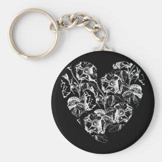 Dark Rose Heart Keychain