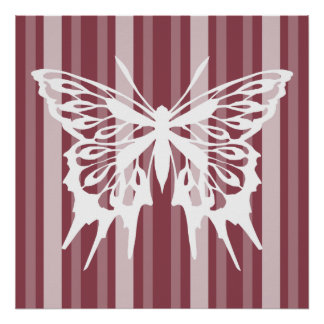 Dark Rose Victorian Lady Stripe with Butterfly Poster