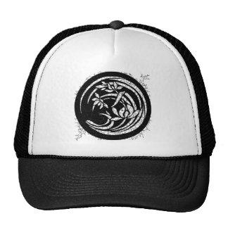 Dark Round Floral Motif Trucker Hat