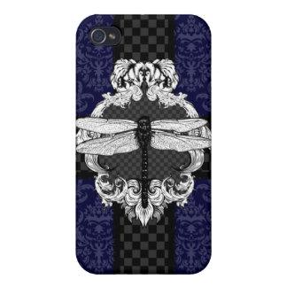 Dark Royal Blue Dragonfly Damask iPhone 4 Case