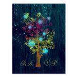 Dark Royal Blue Spiral Trees Rustic Wedding RSVP Postcard