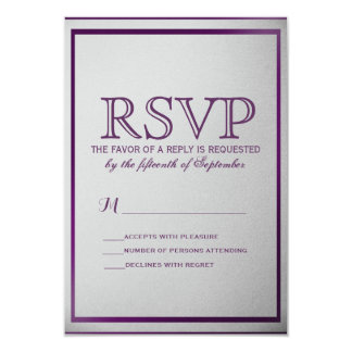 Dark Royal Purple Outline on Gray Gradient Card