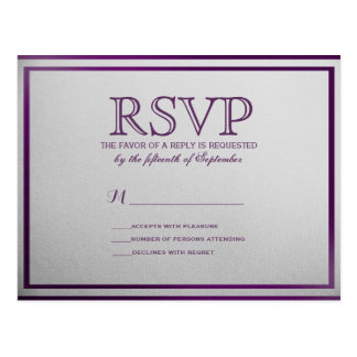 Dark Royal Purple Outline on Gray Gradient Postcard
