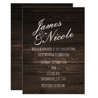 Dark Rustic Country Wood Simple Wedding Invitation