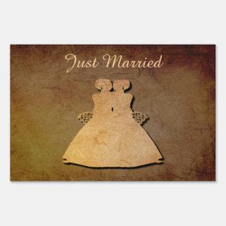 Dark Rustic Gay Bridal Just Married Yard Sign