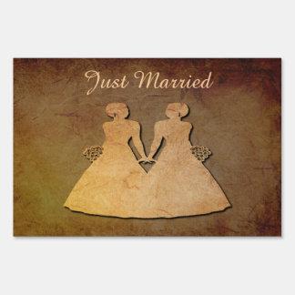 Dark Rustic Lesbian Bride Just Married Yard Sign