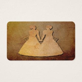 Dark Rustic Lesbian Wedding Bridal Business Card