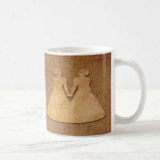 Dark Rustic Paper Lesbian Wife Valentine Mug