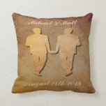 "Dark Rustic Pillow Custom Gay Wedding Gift for Men<br><div class=""desc"">Two grooms hold hands on their wedding day. Personalize this gift for a gay wedding by adding in the grooms&#39; names and their union date.</div>"