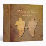 Dark Rustic Vintage Texture Gay Wedding Album 3 Ring Binder