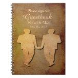 Dark Rustic Vintage Texture Gay Wedding Guestbook Note Books