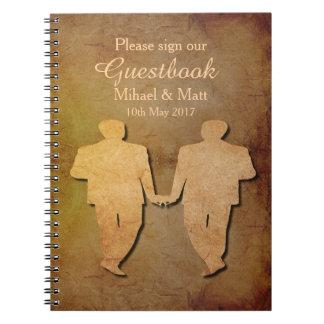 Dark Rustic Vintage Texture Gay Wedding Guestbook Notebook