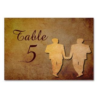 Dark Rustic Vintage Texture Gay Wedding Table Card