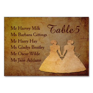 Dark Rustic Vintage Texture Lesbian Reception Card Table Card
