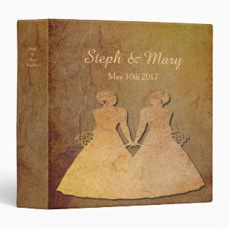 Dark Rustic Vintage Texture Lesbian Wedding Album Binder